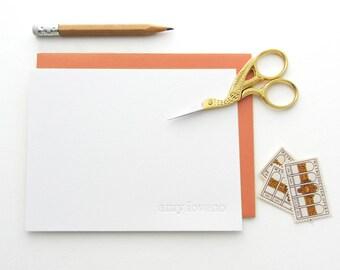 Letterpress - Blind Impression Stationery Set (century schoolbook font, lower case) - 100 qty