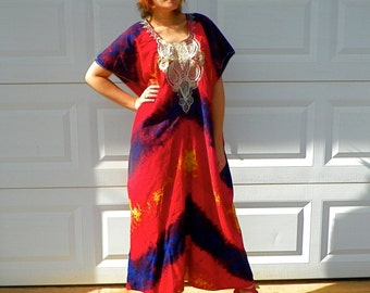 SALE 1970s Vintage Red Tie Dye Maxi Kaftan Purple and Gold Chevron Stripes White Embroidery African Festival Dress Size Extra Large