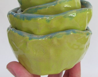 Hand built ceramic bowls set of four wabi sabi chartreuse yellow and turquoise