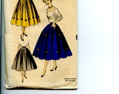 "Vintage 1950s Advance 6348 Pattern for Misses 8 Gored Full Circle Skirt with Novelty Trim Complete Waist 23"" Hip 31"""