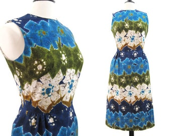 60s 70s Dress Vintage Hawaiian Barkcloth Batik Print Summer Dress L