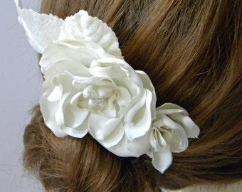 Ivory silk hair comb,  bridal hair flower hair comb hair accessories, headpiece, fascinator