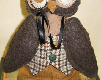 Cloth Doll E-Pattern 16 in Wise Old Professor Owl Epattern