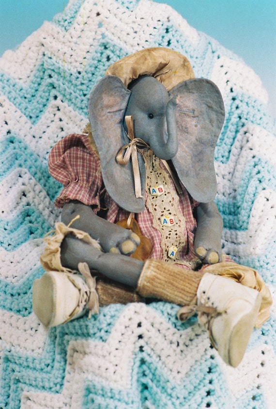 Cloth Doll E-Pattern - Adorable 24 inch Baby Elephant epattern