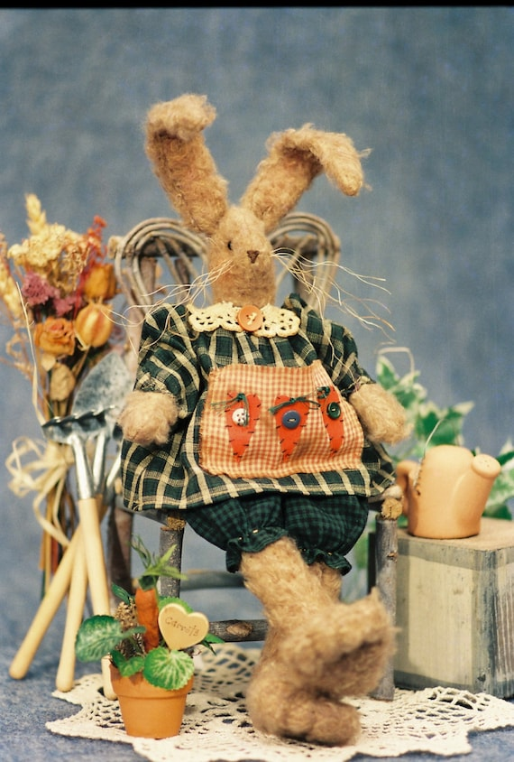 Cloth Doll E-Pattern 14in Furry Country Girl Easter Bunny
