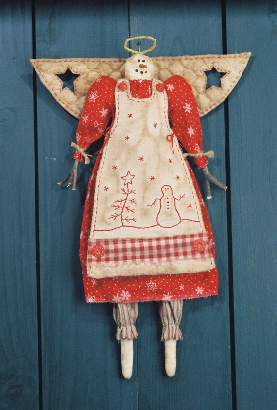 Cloth Doll E-Pattern 19in Country-primitive Holiday Angel epattern