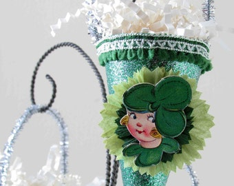 Vintage Style St. Patrick's Day Ornament Decoration/ Vintage Die Cut/Crepe Paper Flower/Girl