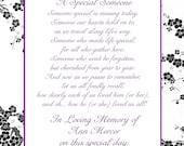 In Loving Memory Cards - Custom Wedding Memorial Poem - DIGITAL FILES - DIY Printable - A Special Someone