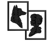 The Little Prince and Fox Silhouette Print Set Quote Black and White Antoine de Saint-Exupéry
