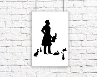 Large Magician Silhouette Print Black and White Rabbit Bunny Hare Magic