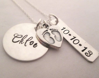 Baby Love - Hand Stamped Necklace - Personalized Necklace - Mother's Necklace