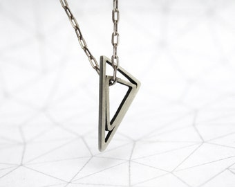 Nestled Triangle - Triangle inside triangle Necklace- 45cm Chain -Sterling Silver