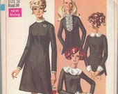 Vintage 1968 Simplicity Pattern 7843, Dress with Collar Options, Miss Size 16