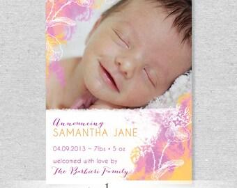 Watercolor Violets Photo Birth Announcement - DIY Printable File