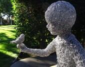 Boy With Bird Large Wire Sculpture
