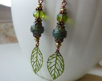 Antique Style Green Leaf Dangle Earrings with Green Czech Glass and Antiqued Brass