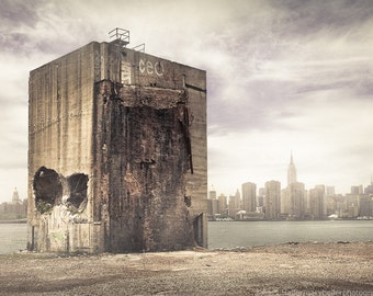 Brooklyn Waterfront, Apocalypse, New York, Industrial Chic, Empire State Building, New York City Skyline, Photography Print, signed