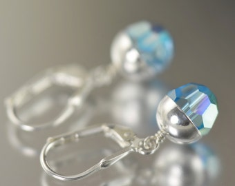 Aquamarine earrings Swarovski crystal earrings March Birthstone earrings blue dangle earrings