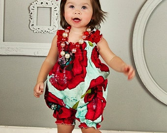 Baby Dress - Girls Romper - Red Romper