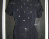 Vintage 40s 50s Baerbro Original Rhinestone Studded Twist Front Party Cocktail Dress