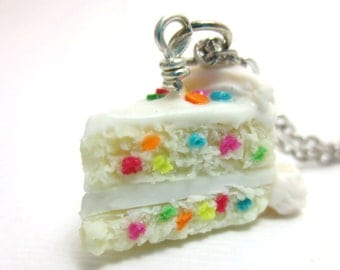 Vanilla Birthday Cake Necklace Cake Slice, Miniature Food Jewelry, Polymer Clay Food Jewelry