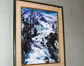 Reserved for April Large Original Fine Art Oil Painting  Impasto Style Snowy Mountain Slope and Timber Line signed by Artist
