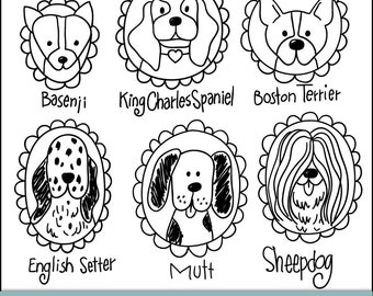 Pup Portraits Doodled Digital Clipart, Brushes and Stamps. Instant Download. Personal and Limited Commercial Use.