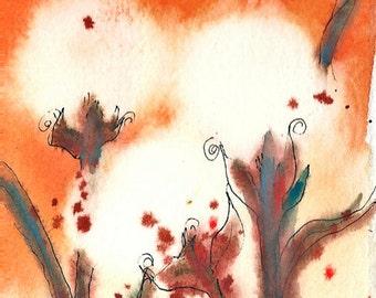 Autumn Fire Cotton, ORIGINAL Watercolor Painting, 4 x 6