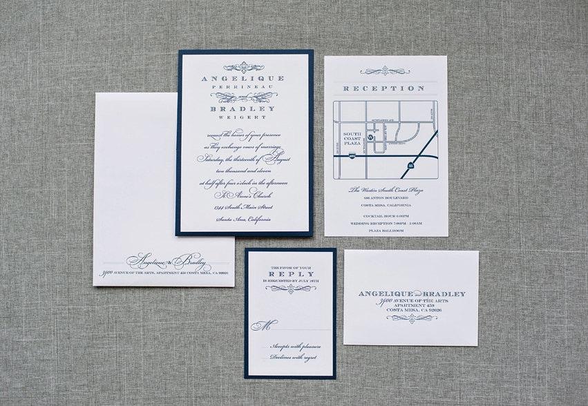 Navy Blue And White Wedding Invitations: Navy Blue And White Vintage Wedding Invitation Pocket Card