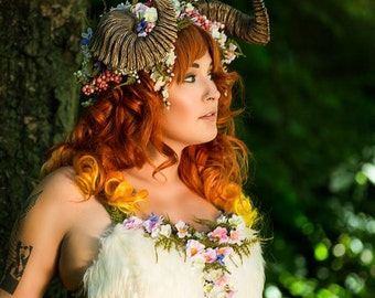Woodland Nymph Corset Lacing Top with Moss and Flowers