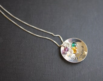 Grandmother Charm Necklace with Swarovski Birthstone Crystals - by I Heart This