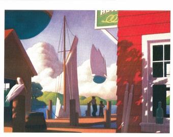 Nautical Print - Ghost Ship - Boat Print - Vintage Art Print - Boat Book Plate, Book Print - Wreck of the Zephyr - Chris Van Allsburg