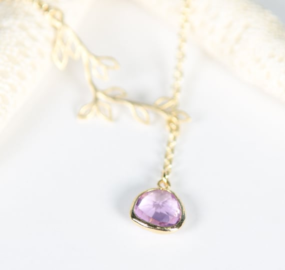 Gold + Purple Branch lariet Necklace | Handmade sophisticated unique nature-inspired woodland leaves crystal glass pendant pink jewelry