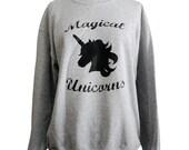 Unicorn Sweater - Magical Unicorns Crewneck Sweatshirt - Unisex Sizes S, M, L, XL