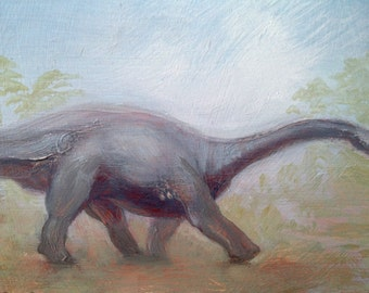 Framed Miniature Painting Original Tiny Dinosaur painting