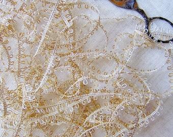 Malt Picot looped Lace Ribbon Trim- novelty scrapbook embellishment, wedding party supply, dainty craft ribbon- 5 yds