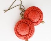 Red Cinnabar Earring/Cinnabar Jewelry/ Cinnabar Bead/Carved Bead/Asian Jewelry/Asian Earring/Chinese Earring/Oriental Jewelry/Brass Earring