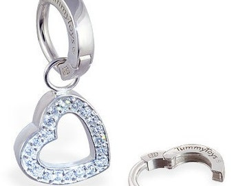Silver Cz Set Removable Swinger Heart Charm with Sterling Silver Belly Ring By TummyToys (63005)