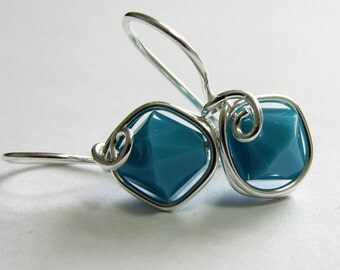 Turquoise Blue Sterling Silver Swarovski Crystal Wire Wrapped Earrings