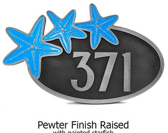 Starfish Oval Home Numbers Address Plaque with painted starfish 15x9 inches Custom and made in the USA