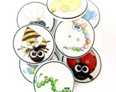 """8 Bug Buttons. Birds, Bees and Bugs handmade Novelty buttons. 3/4"""" or 20 mm. 8 different  Decorative sewing or craft buttons."""