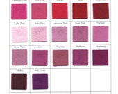 Pink, Red, Wool Felt Sheets, CHOOSE THREE,  8 x 12 Inch, 1mm Thick, Nonwoven Felt, Felt Doll Skin, Raspberry Merlot Carnation Fuchsia Blush