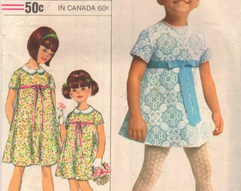 Simplicity 6904 1960s Designer Fashion Childs Dress Pattern Girls Dainty Lace Frock Vintage Sewing Pattern Size 12 Breast 30