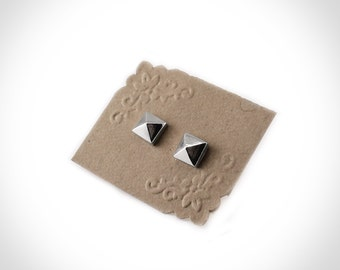 Large Pyramid Stud Post Earrings in Sterling Silver