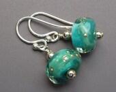 Teal Lampwork Bead and Sterling Silver Earrings