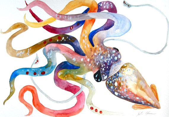 Watercolor Painting Original Painting Squid Painting