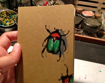 Insects Painted, Bug Book, Painted Moleskine Pocket Journal