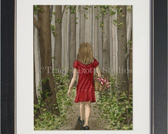 Red Riding Hood - archival watercolor print by Tracy Lizotte