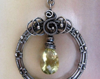 Wire Wrapped Yellow Quartz Gemstone Pendant, Sterling Silver Round Circle Pendant, Handmade Necklace