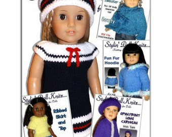 Knitting Patterns for doll clothes, Fit American girl Doll, 18 inch. Instant Download